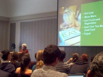 Marion Nestle speaking at Drexel University